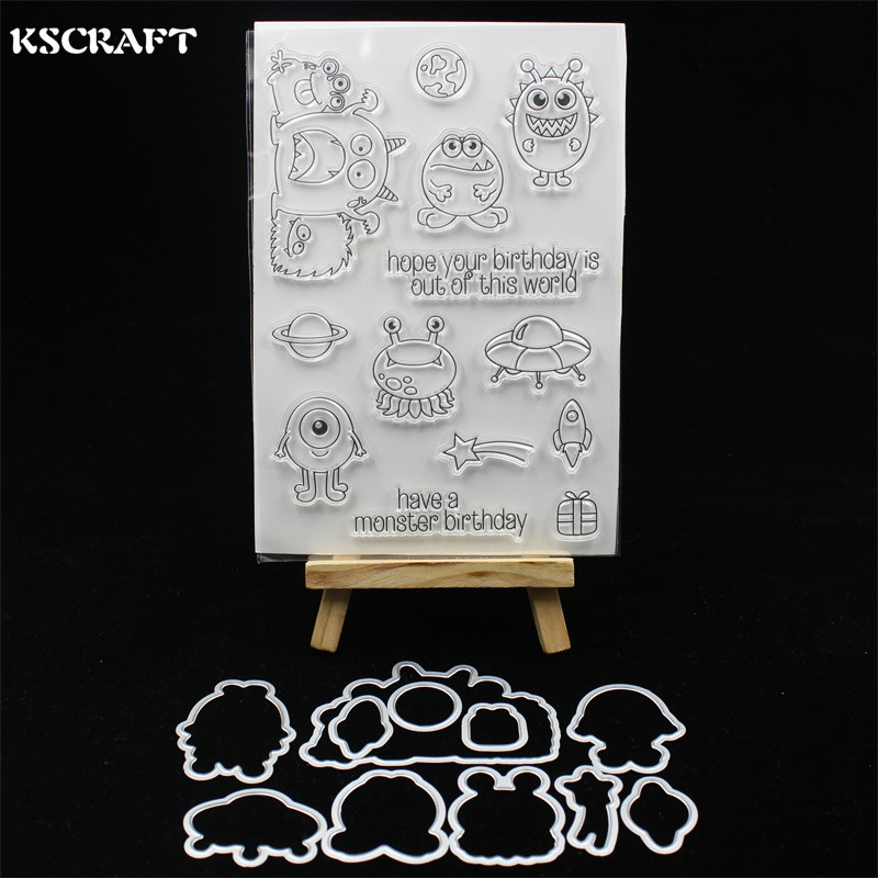 KSCRAFT Birthday Monsters Transparent Clear Silicone Stamp And Cutting Dies Set for DIY scrapbooking/photo album Decorative monsters of folk monsters of folk monsters of folk