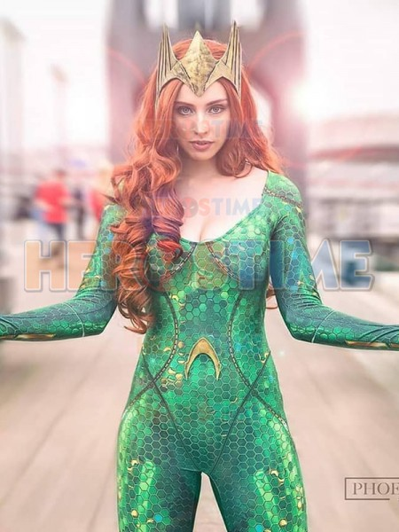 Mera Costume Aquaman Film Version Mera Printed Costume halloween superhero jumpsuit can custom made