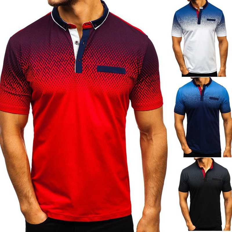 Laamei 2019 Men Polo Shirts Blue And White Gradient England Style Men Shirt Summer Polo Casual Loose Turn-down Collar Clothing
