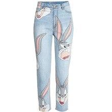 2017 Мода Хлопок Женщины Джинсы Кролик Печатает старые белые свободные джинсовые брюки Женские Прямые Джинсовые Брюки Джинсы, Шорты
