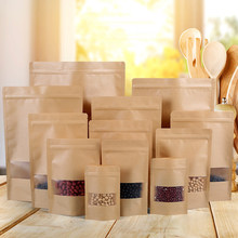 Kraft Paper Bag Zip Lock with Window Gift Tea Packaging Food Stand Up Pouches Storage bags(China)