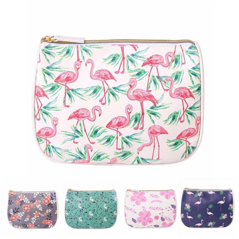Travel Cosmetic Storage Bag Flamingos Makeup Case Women Zipper Hand Holding Make Up Handbag Organizer Pouch Toiletry Wash Bags 3