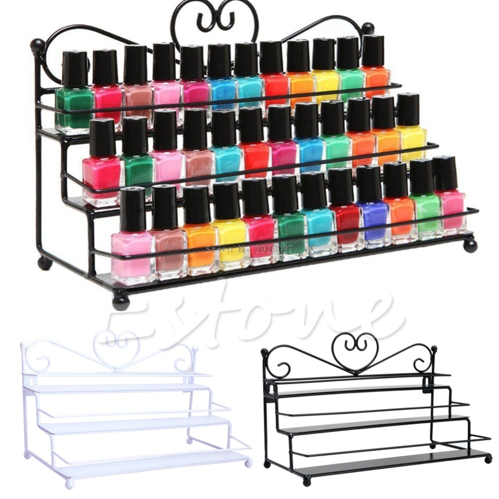 2 Styles 3Tiers Metal Nail Polish Shelf Cosmetic Varnish Display Stand Holder Heart Design Makeup Wall Rack Organizer Case