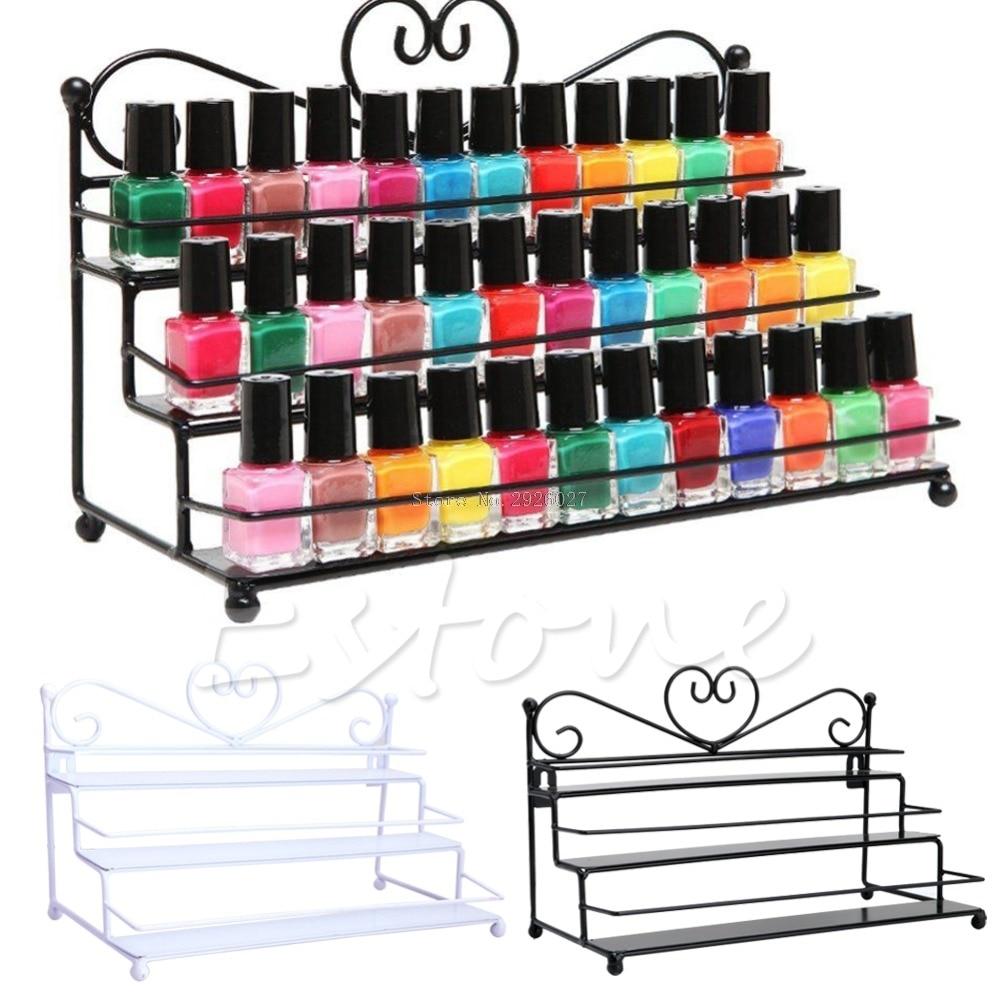 2 Styles 3Tiers Metal Nail Polish Shelf Cosmetic Varnish Display Stand Holder Heart Design Makeup Wall Rack Organizer Case