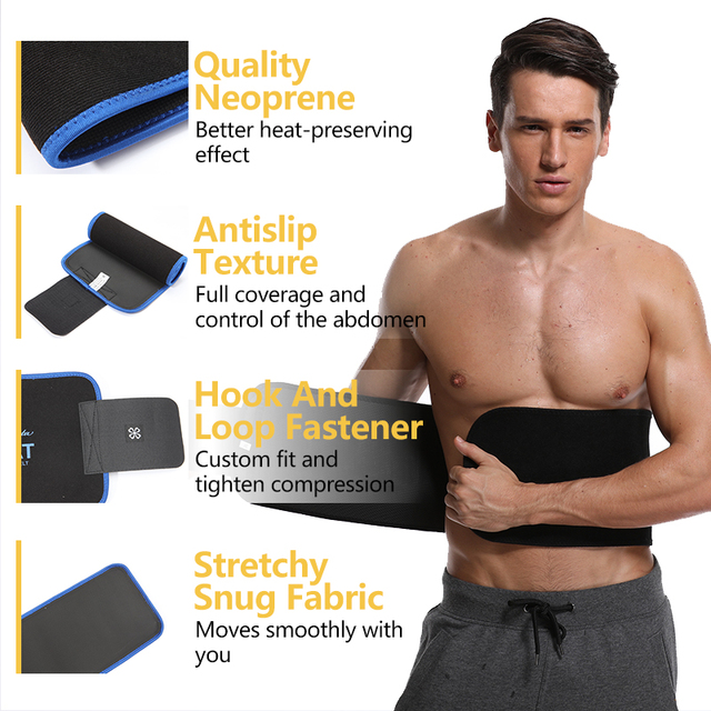 VASLANDA Men Neoprene Waist Trainer Corset Slimming Shaper Tummy Control Girdles Workout ABS Trimmer Fitness Sweat Belt 3