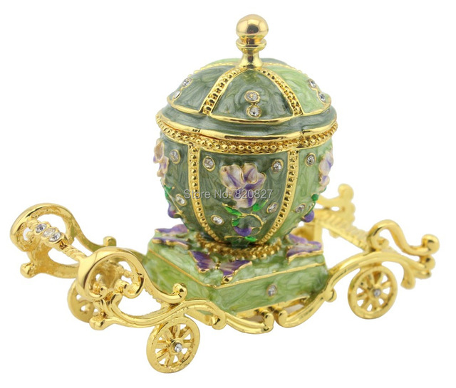 Collectible Green Carriage Trinket Jewelry Box Bejeweled Butterfly