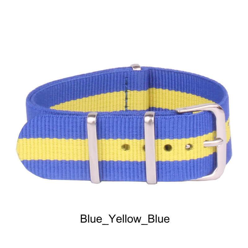 "Watchbands אופנה סיטונאי Mens נשים הצבא הצבאי ניילון שעונים רצועות צהוב כחול שעוני יד בנד חגורות אבזם 20 מ""מ"