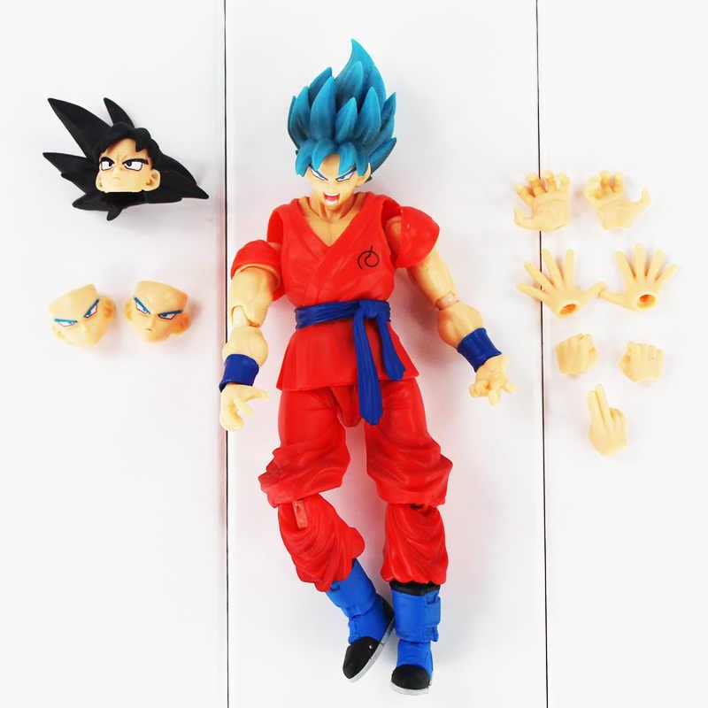 16 cm SHFiguarts Anime Dragon Ball Z Figura de Ação Goku Son Goku Super Saiyan Deus Ressurreição F Modelo Boneca