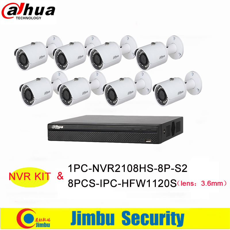Dahua NVR Kit DVR 8Ch 8PoE 1PC-NVR2108HS-8P-S2&8PCS-IPC-HFW1120S H.264+/H.264 Up to 6Mp Video Recorder IP Camera IR 30M