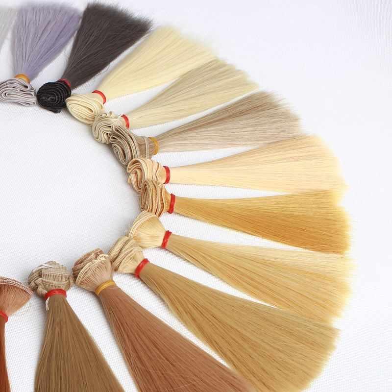 15*100cm DIY trenzas muñeca Peluca de pelo de alta temperatura Oro Blanco marrón negro gris Material pelucas de pelo liso accesorios de muñeca bjd