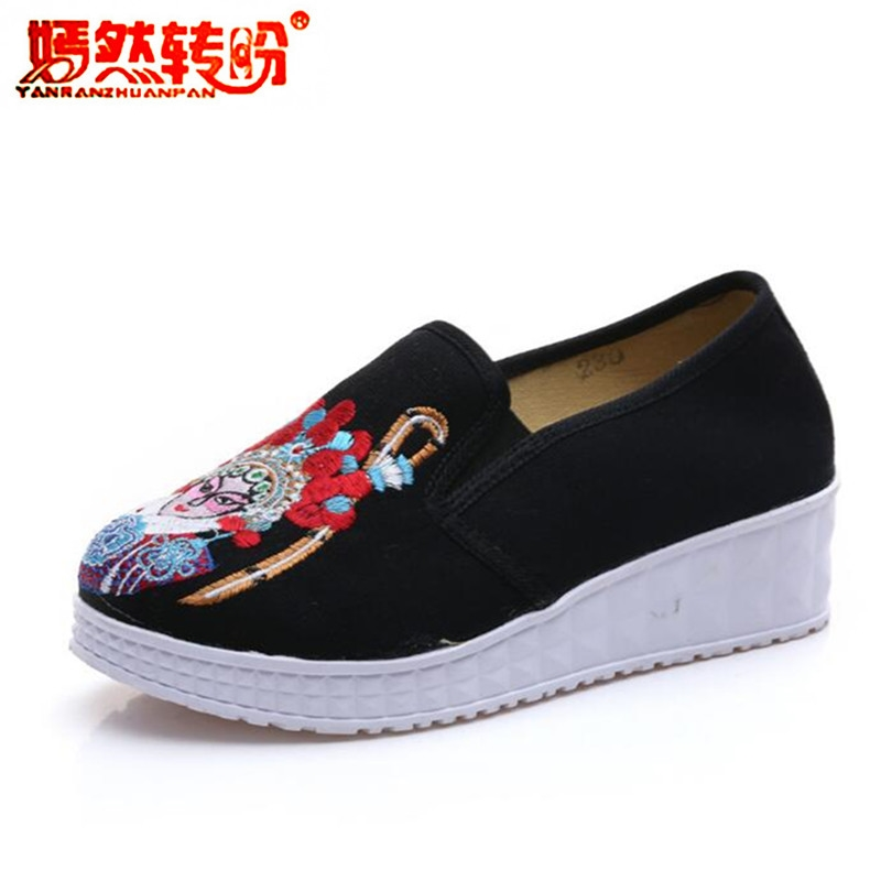 Retro Drama Facial Masks Pedal Shoes Old Beijing Embroidery Cloth Shoes Women Single Loafer Slip-on Casual Flat Platform Walking chinese women flats casual shoes old beijing floral canvas embroidery shoes slip on soft single ballet shoes sapato feminino
