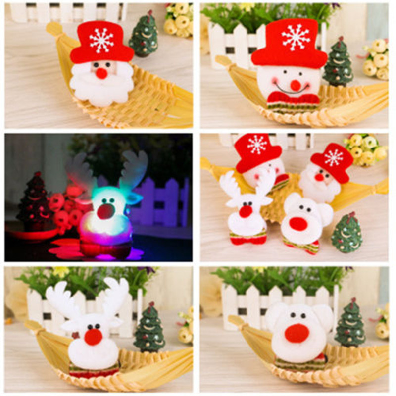 1pc Christmas Night Luminous Brooch Decor Badge Elderly People Santa Snowman Gifts Festive Party Xmas DIY Decoration