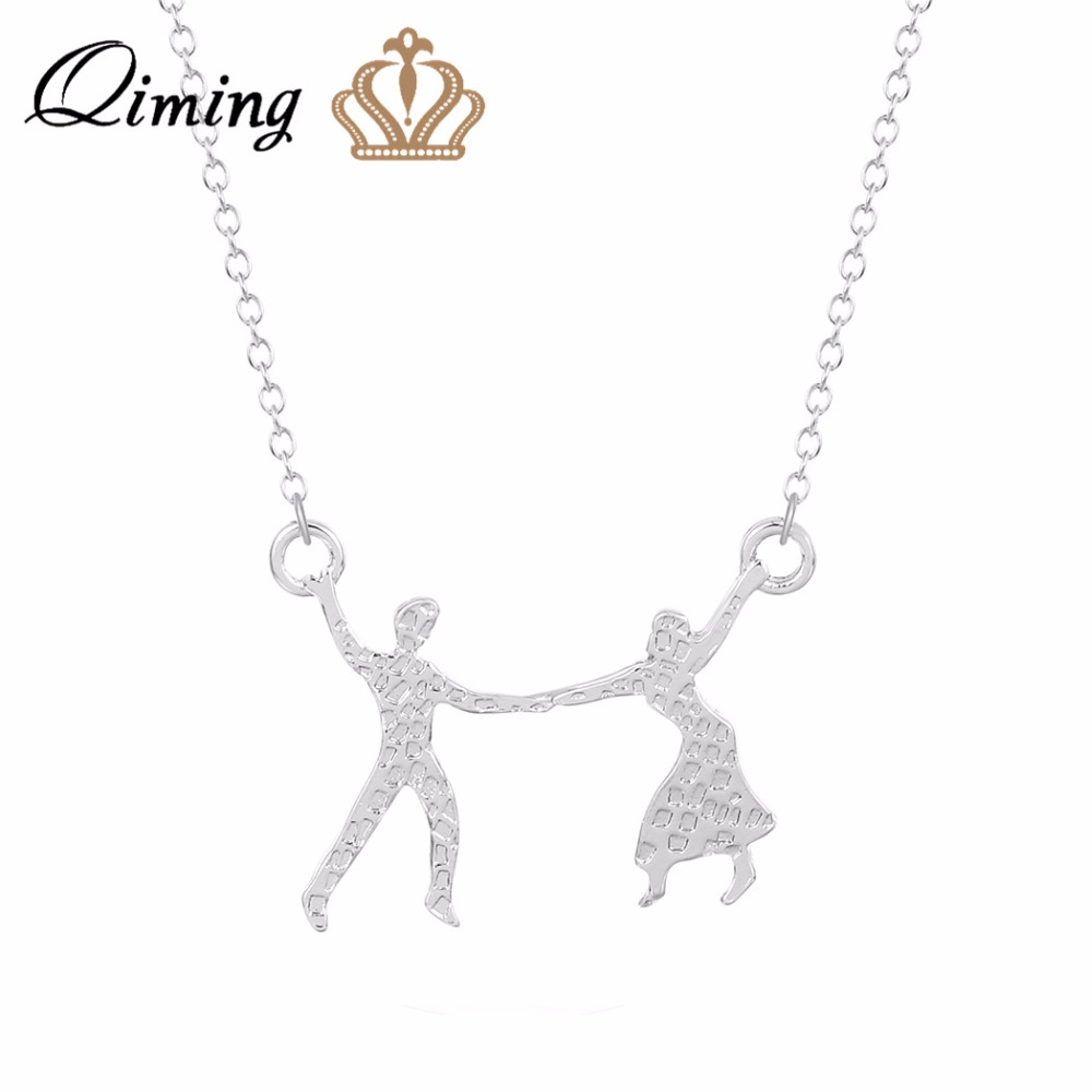 QIMING 10pcs/lot Couple Dance Tango Necklace Jewelry Lovers Design Wholesale Charm Necklace Sweet Gift Collier for Women Girls