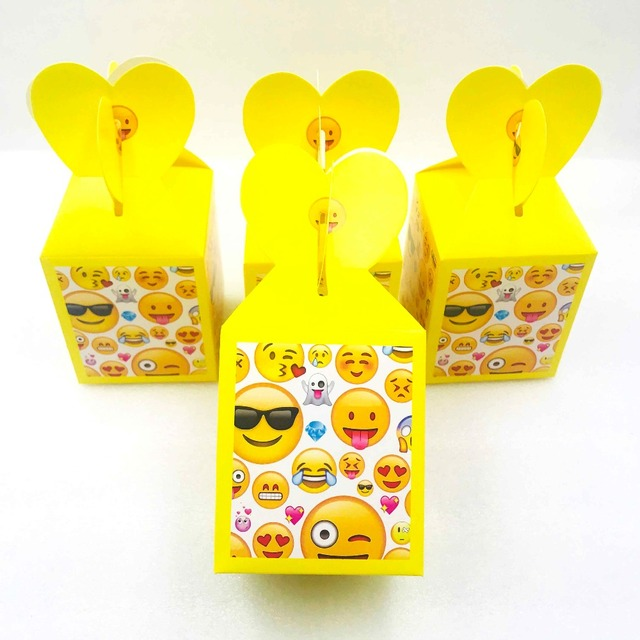 6pcs Emoji Girl Birthday Party Decorations Ideas Favors Candy Boxes Themed Supplies Personalized Favor Bags