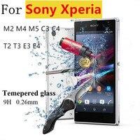 Премиум 0.26 мм 9 h закаленное стекло фильм взрывозащищенный экран протектор для sony xperia м2 m4 m5 c3 c4 t2 t3 e3 Е4 + комплект для очистки