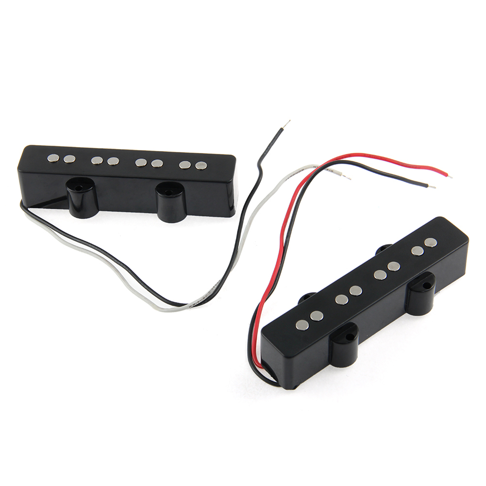 A Set of 2 Pcs Black 4 String Noiseless Pickup Set For Precision P Bridge Bass Pickup Set High Quality Guitar Part Accessories belcat bass pickup 5 string humbucker double coil pickup guitar parts accessories black