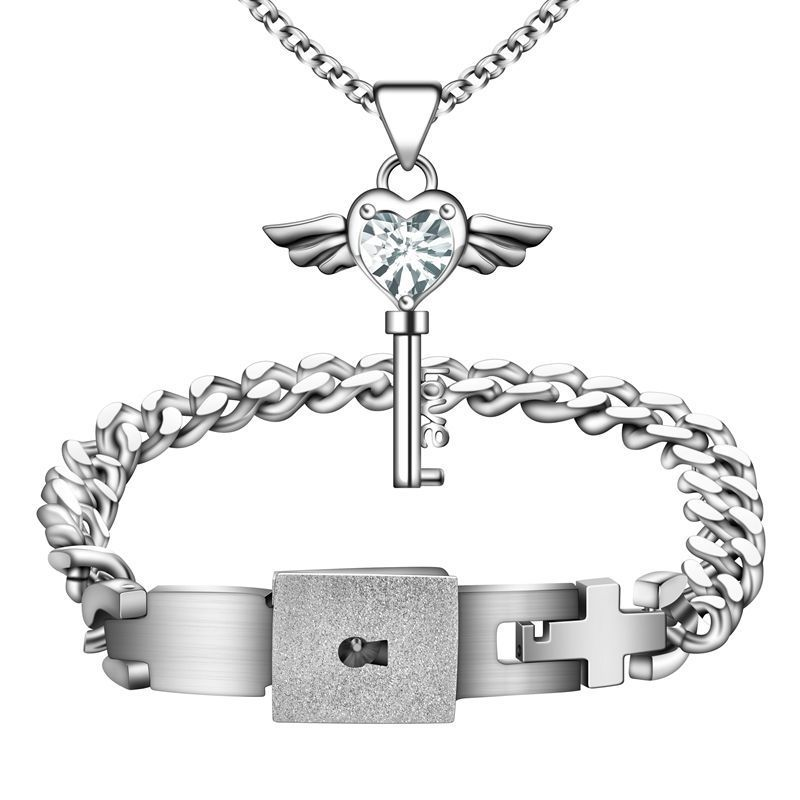 A Pair Lover Jewelry Set Silver Stainless Steel Heart Lock Bracelet Key Necklace For Valentines In Sets From