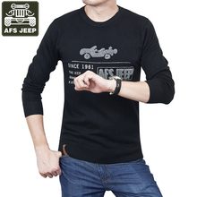 AFS JEEP Brand Pullover Men's Sweater Print O-Neck Casual Fashion Sweater Men Pullovers Army Green Men's Turtleneck Pull Homme