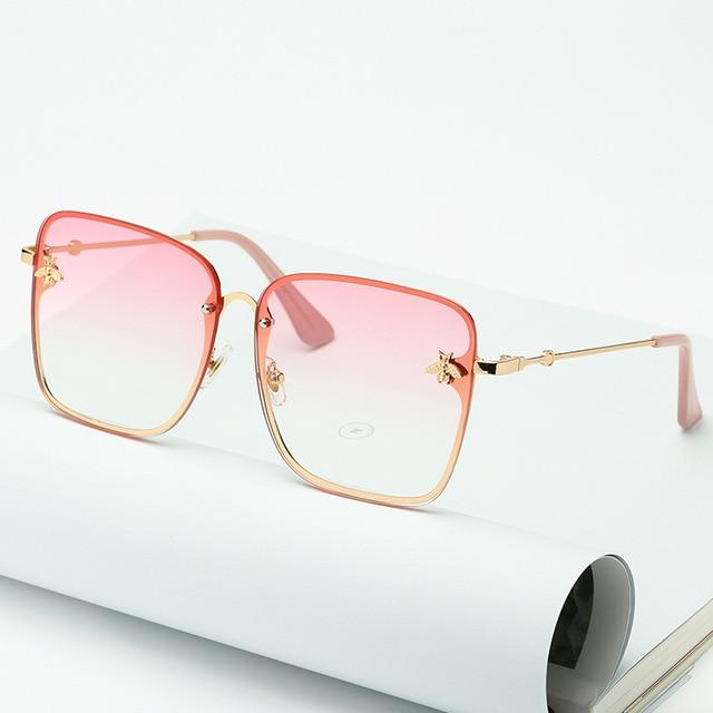 2020 new fashion lady oversize rimless square bee γυαλιά γυναικεία ανδρικά μικρά μέλισσα γυαλιά κλίση γυαλιά ηλίου γυναικεία uv400