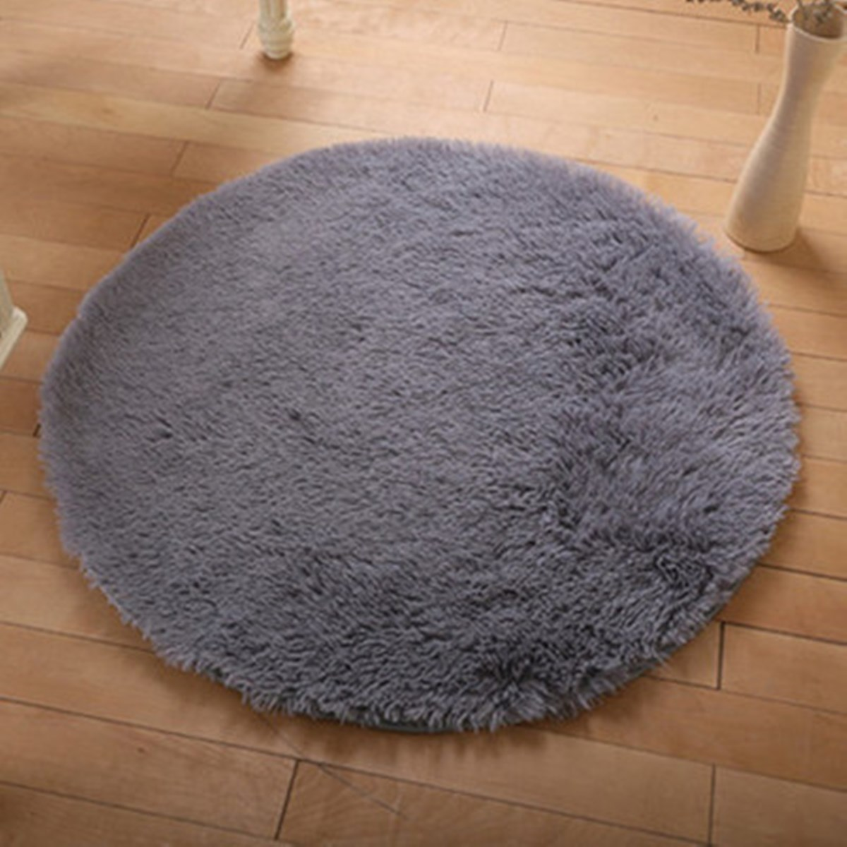 Non Slip Shower Living Room Bedroom Carpet Rug Grey Floor Mats Modern  Shaggy Round Rugs And
