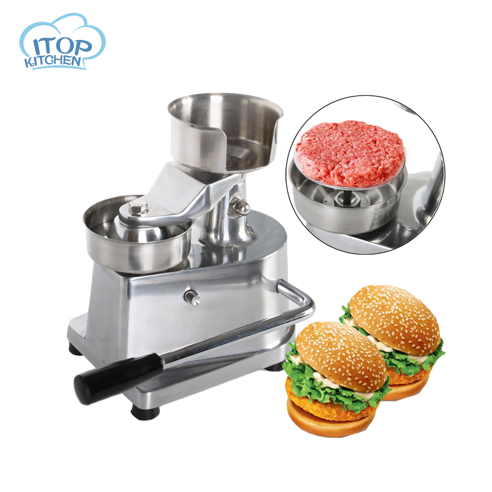 ITOP 100mm 130mm Manual Hamburger Makers Patty Press Commercial Meat Pie Hand Control Machine