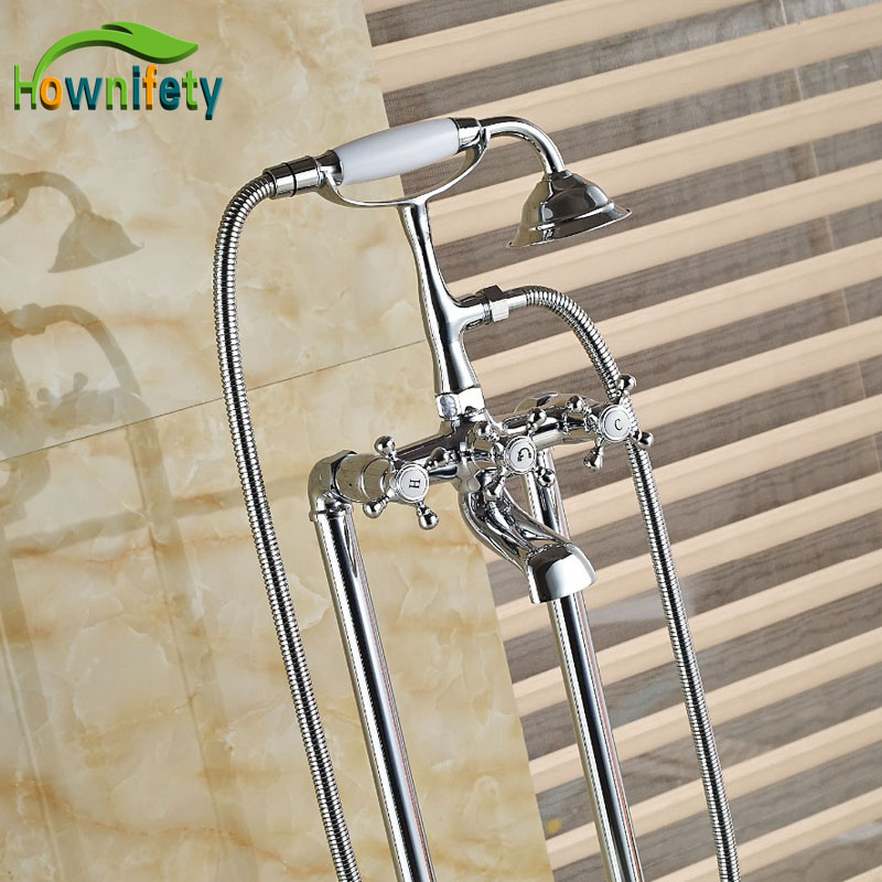 Chorme Polish Solid Brass Bathtub Tap Swivel Spout Bathroom Tub Faucet Sets with Hand Shower Floor Standing