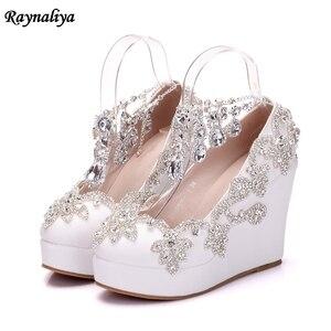 Brand Women High Heels Wedges Shoes Prom Wedding Shoes Lady Bling Platforms White Glitter Rhinestone Bridal Shoes XY B0051 Women's Pumps     -