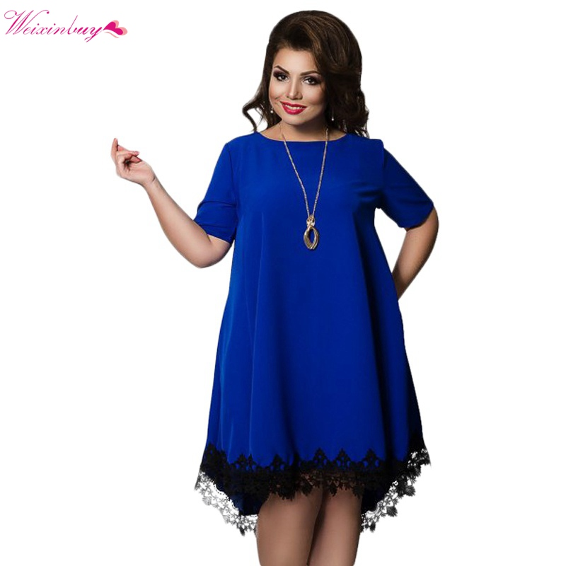 WEIXINBUY Short Sleeve Lace Dresses Big Size 5XL 6XL New 2017 Summer Backless Large Size Dress Plus Size Women Clothing Loose