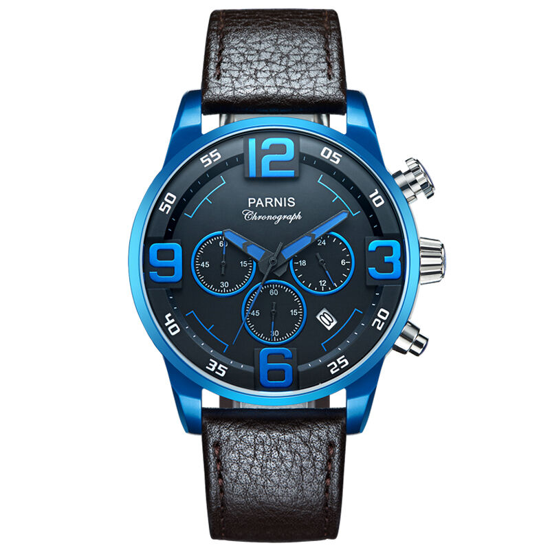 Parnis Pilot IIV Seriers Luminous Mens Silicone / Leather Watchband Army Sport Chronograph Quartz Watch Wristwatch parnis pilot iiv seriers luminous mens silicone leather watchband army sport chronograph quartz watch wristwatch