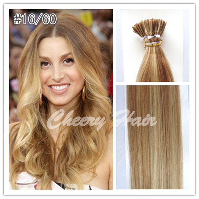 100 Peruvian Remy Hair Extensions Stick Hair Mixed Color 1660 I