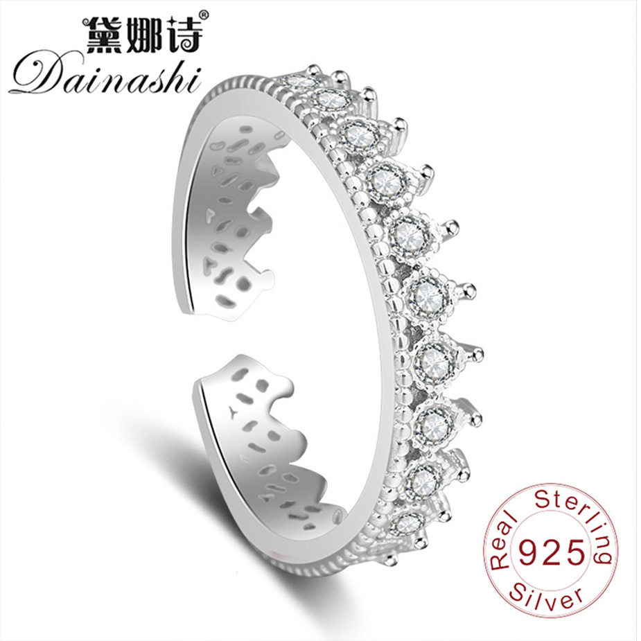 Dainashi Embedded Shiny Zircon Elegant Crown Ring Girl 925 Silver Fine Adjustable Birthday Wedding Finger Ring For Women Gift