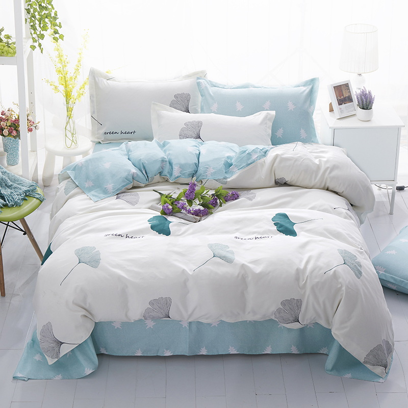 Home Bedding set grey blue duvet cover AB side bed linens flat sheet pillowcase bedclothes adult Grid home bedding bed cover set