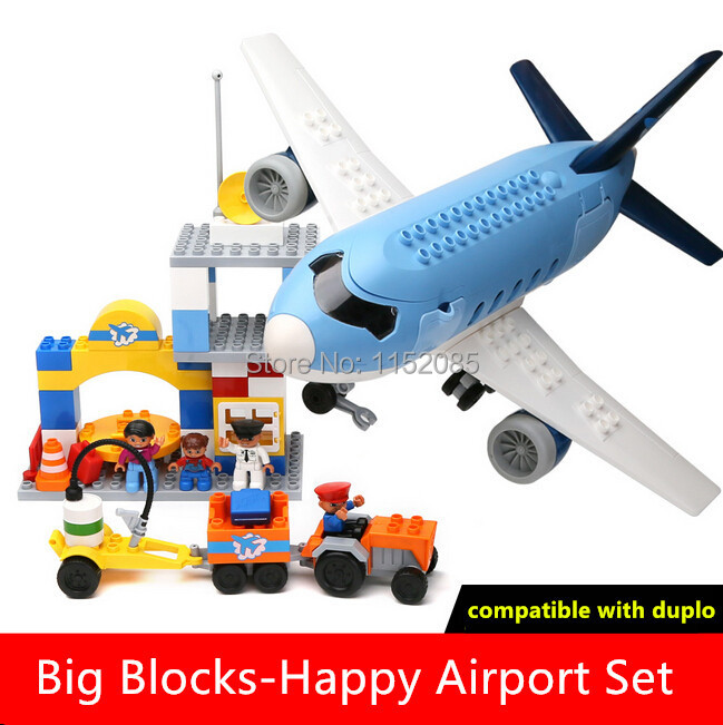 69pcs Building Blocks Set Happy Airport Super Big Plane Blocks Funny Educational Toys for Children Best Gift Compatible Duploe gudi blocks city air plane building blocks international airport compatible legoinglys block educational toys for children gift