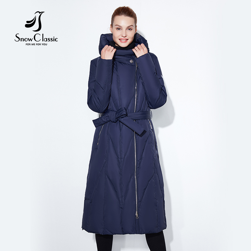 Snow Classic 2017 winter plus fat to increase the code thick lady warm cold cold coat cotton belt lap long zipper hat jacket