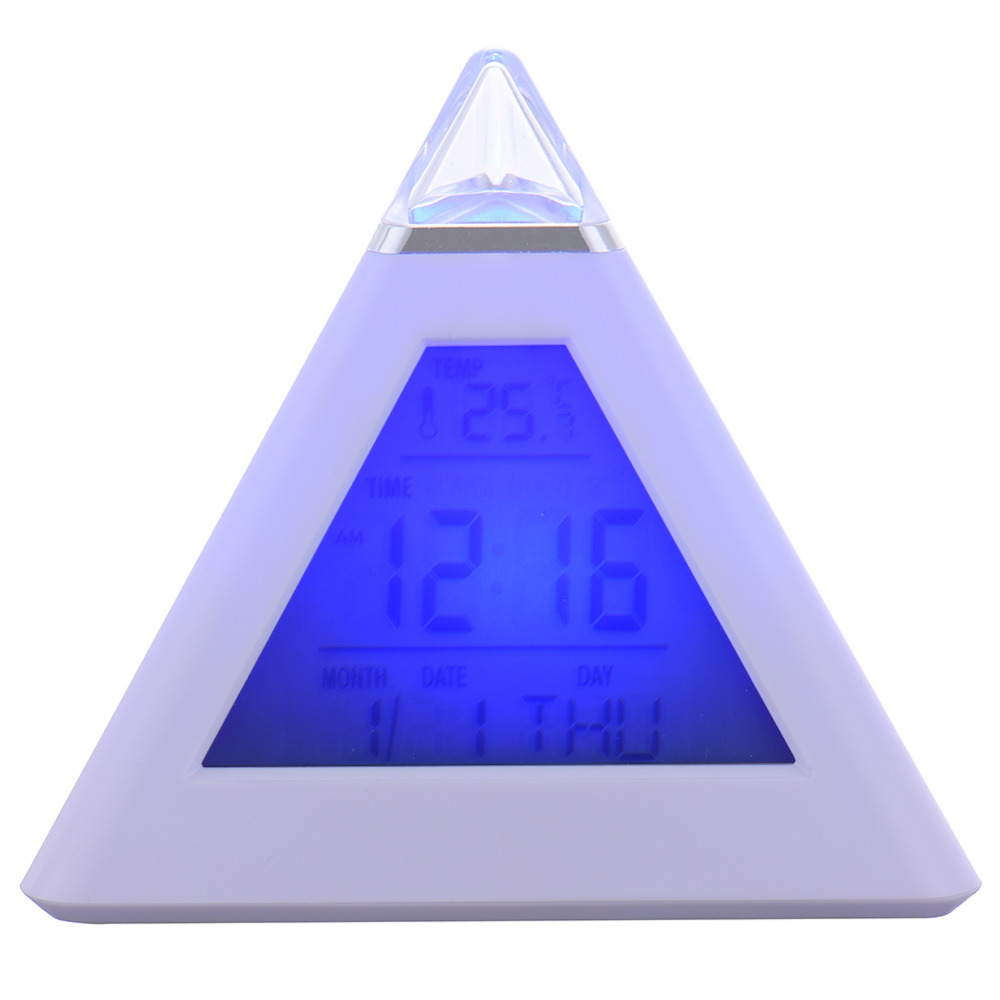 digital 7 led pyramid colour changing digital clock with date alarm temperature 2 clock in a. Black Bedroom Furniture Sets. Home Design Ideas