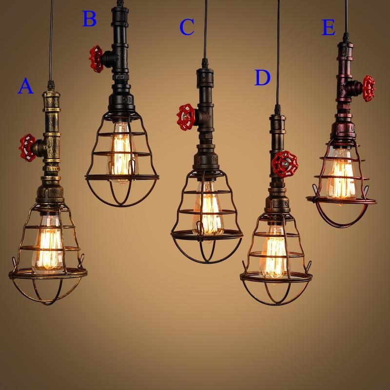 Retro Indoor Lighting Vintage Pendant Light Led Lights 24: Loft Pendant Light Vintage Iron Cage Led Lamp E26 E27 Led