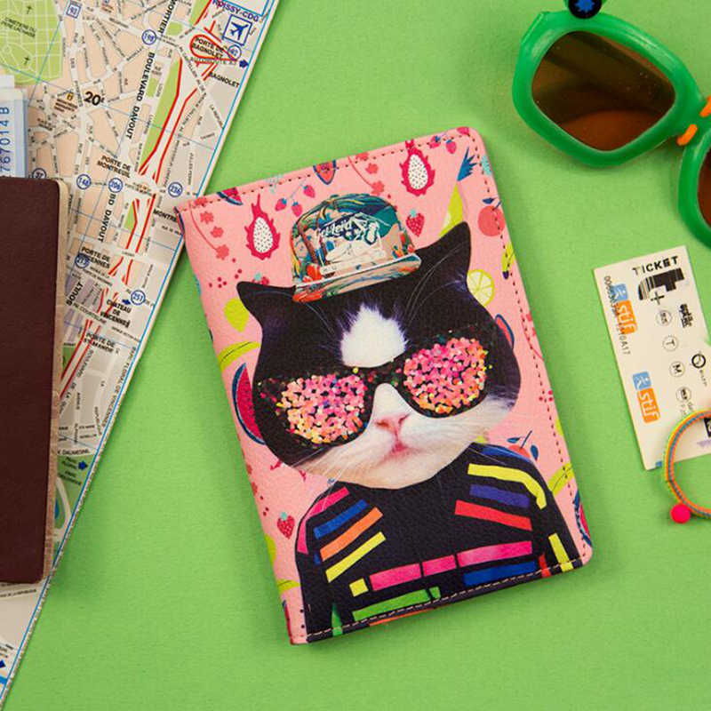 Cute Animal Cat Passport Holders Covers Creativity Travel Accessories PU Leather ID Bank Card Bag Women Passport Business Case creative cartoon flamingo passport holders covers travel accessories pu leather id bank card bag women passport business case