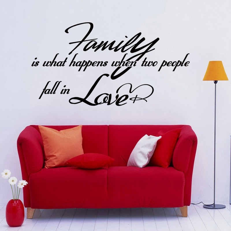 Family Wall Sayings - Family is what happens When Two People Fall Love - Wall Sticker Quote Vinyl Art Wall Decal 54 x 29 L