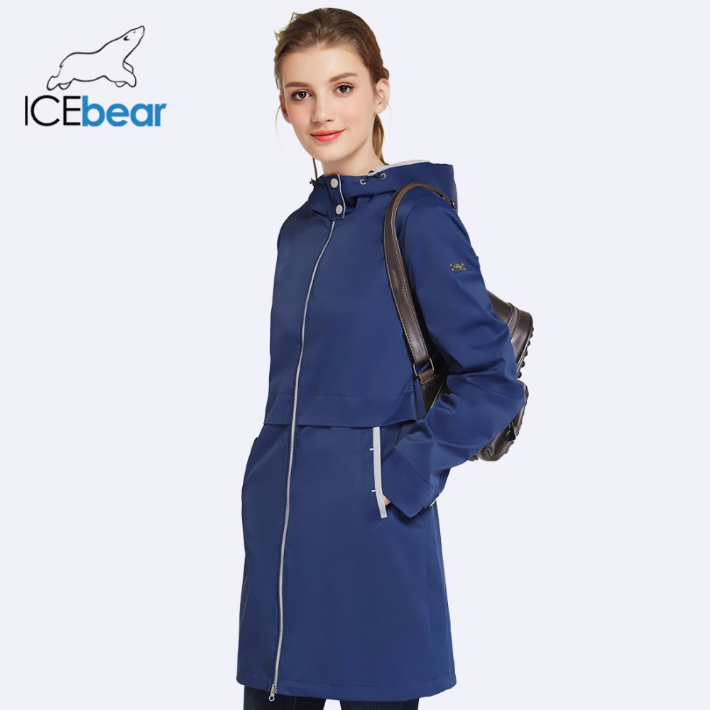 ICEbear 2019 Spring Woman Clothing Solid Color Long Sleeved Casual New Women Coat Stand Collar Pockets Trench Coat 17G122D