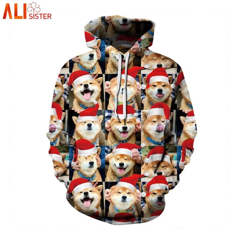 YUSKY Men Pullover Digital Print Cat Fall Winter Hoodie Sweatshirts