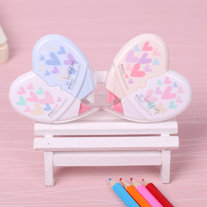 2PCS/Pair Cute Love Heart Style Correction Tape For Kids Gift School Supplies Materials Escolar Papelaria Office Stationery
