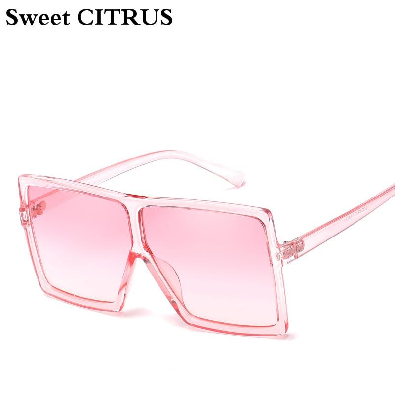 5dc9cecf9 الحلو الحمضيات المتضخم النظارات الشمسية النساء كبير الإطار ساحة نظارات  شمسية الرجال العلامة التجارية مصمم 2018