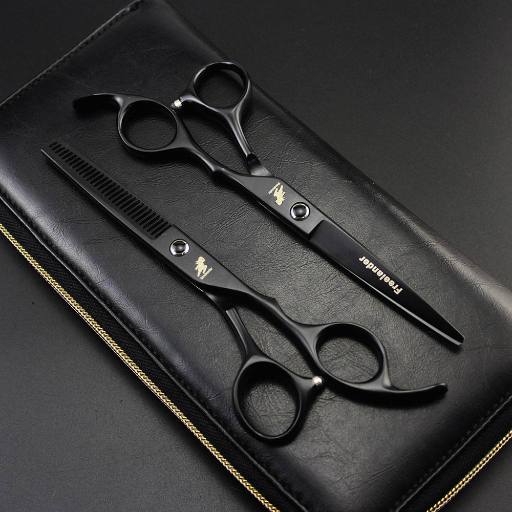 2018 Professional Freelander 6.0 inch Hair Scissors hairdressing scissors cutting thinning scissors styling tools Barber Shears 6 inch 32 teeth hairdressing thinning hair scissor professional with leather bag barber shop hairdresser shears tools hk632vyb