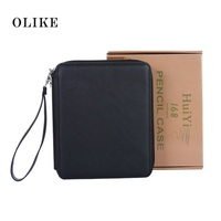 OLIKE 168 Slots PU Leather Pencil Case Holder Organizer With Zipper For Colored Pencils Watercolor Sketch