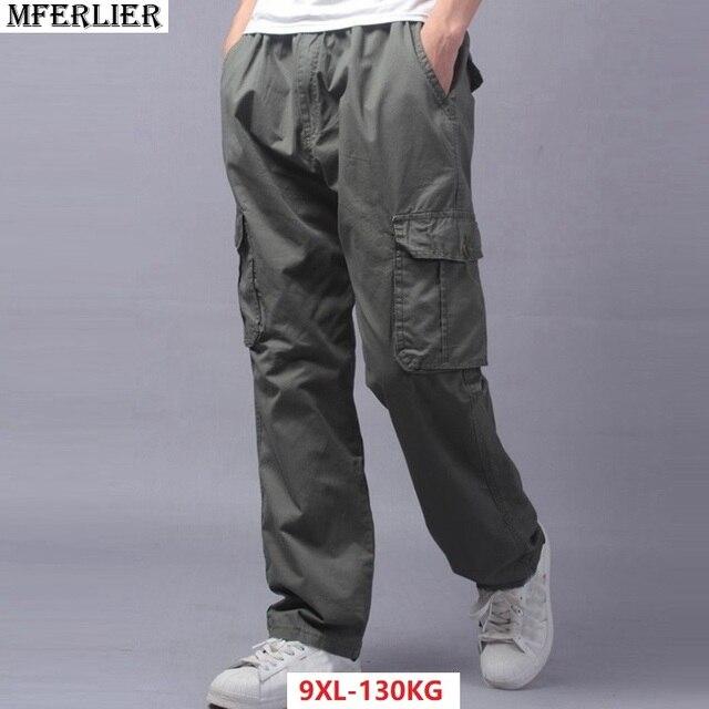 e315c8941468e Men pants trousers safari style large size big 7XL 8XL 9XL pocket military  pants casual autumn
