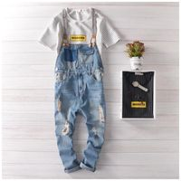 Free shipping Mens Casual Denim Jumpsuit Mens Skinny Jean Overalls Ripped Vintage Bib Pants Male suspenders jeans 71403