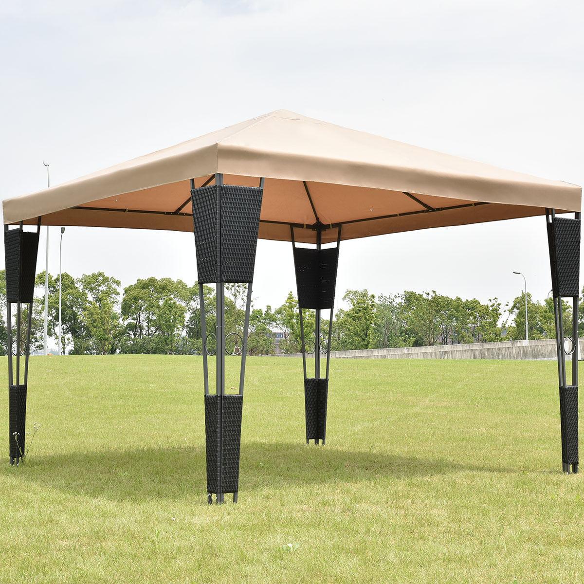 Goplus Outdoor 10\' X 10\' Rattan Wicker Pavillon Baldachin Zelt ...