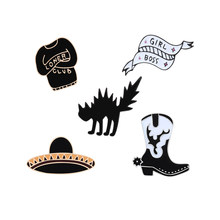 Funny Angry Cat Boots Brooch Lover Club Sweater Cowboy Hat Enamel Pin Men Jackets Lapel Collar Pin Fashion Cartoon Jewelry Gifts(China)