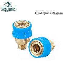 고압 세척기 황동 어댑터 블루 커버 g1/4 퀵 릴리스 1/4 와이어 어댑터 spary water gun 자동차 세탁기 액세서리