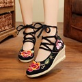 Vintage Embroider Women's Pumps National Wedges Shoes Retro Old Peking High Heeled Lace Up Canvas Flower Embroidered Soft Shoes